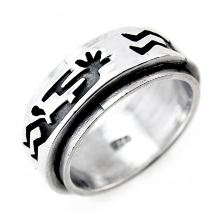 Sterling Silver Spin Ring with Kokopelli Size 5