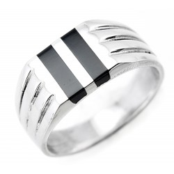 Sterling Silver Mens Ring with Black Stone Inlay