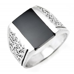Sterling Silver Mens Ring with Black Stone