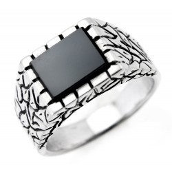 Mens Sterling Silver Ring with Black Stone