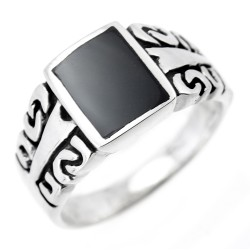 Sterling Silver Mens Ring with Black Center Stone