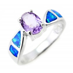 Sterling Silver Ladies Ring with Opal Inlay and Amethyst