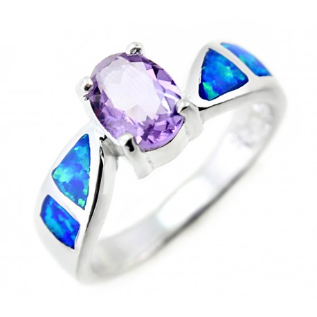 Sterling Silver Ring With Opal & Amethyst Size 8