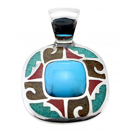Southwestern Sterling Silver Turquoise Pendant CP Signature