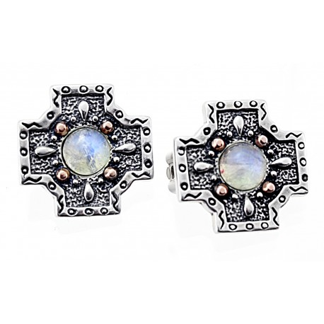 Carolyn Pollack Sterling Silver & 14K Gold Clip Earrings CP Signature
