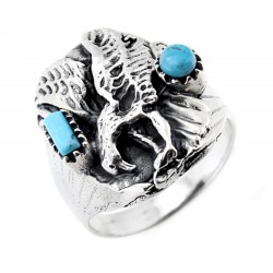 Mens Sterling Silver Eagle Ring with Turquoise