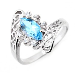 Sterling Silver Ladies Ring with Blue Topaz & CZ