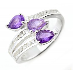 Sterling Silver Ladies Ring with Amethyst & CZ