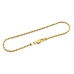 Vermeil Sterling Silver Rope Bracelet 7 Inch Long