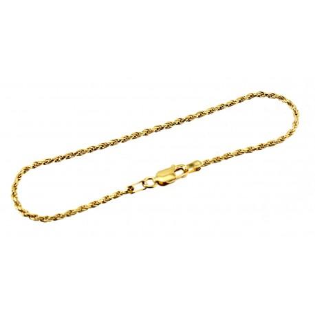 Vermeil Sterling Silver Rope Bracelet 7 Inch