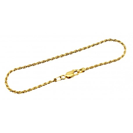 Vermeil Sterling Silver Rope Anklet 9 Inch
