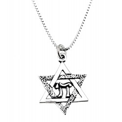 Sterling Silver Star of David Pendant with Necklace