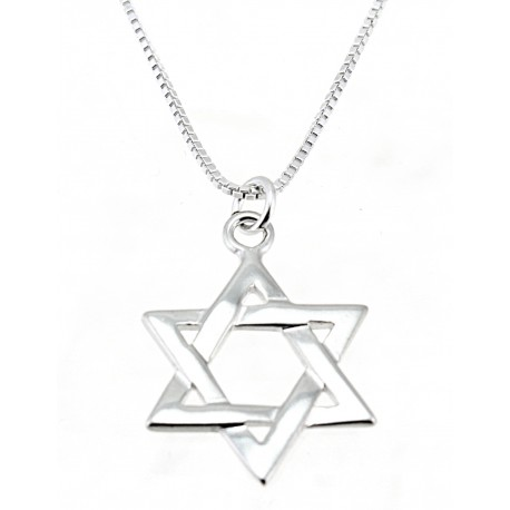 Sterling Silver Star of David Pendant With 18 Inch Chain