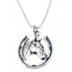 Sterling Silver Horseshoe with Horse Head Pendant with Chain