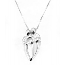 Sterling Silver 2 parent / 2 child Family Pendant with Chain