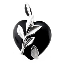 Heart Shaped Onyx Pendant with Sterling Silver Leaves