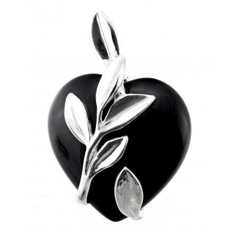 Onyx Heart Pendant w Sterling Silver