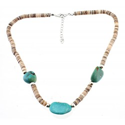Southwestern Sterling Silver Luana Heishi & Turquoise Necklace