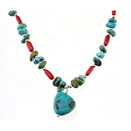 Southwest Sterling Silver Necklace with Turquoise