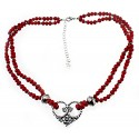 Southwest Sterling Silver and Coral Necklace With Heart Pendant