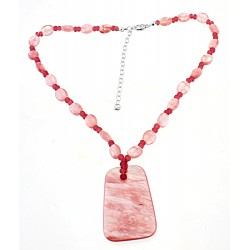 Southwestern Cherry Quarts Necklace w Sterling Silver