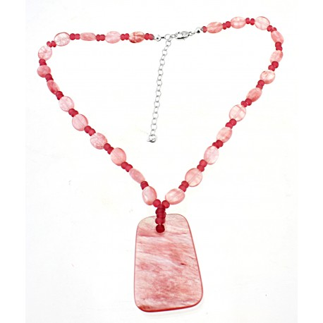 Cherry Quarts Necklace w Sterling Silver
