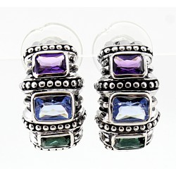 Sterling Silver Earrings with Topaz & Amethyst