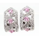 Sterling Silver Earrings with Pink CZ
