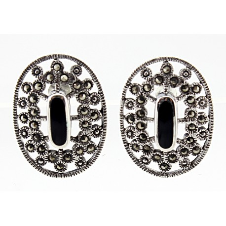 Sterling Silver Marcasite Onyx Earrings