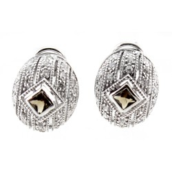 Sterling Silver Decorative Earrings with CZ