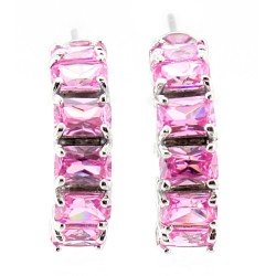 Sterling Silver Hoop Earrings with Pink Cubic Zirconia