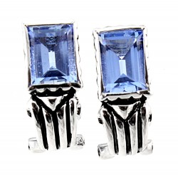 Sterling Silver Rectangle Earrings with Blue Topaz