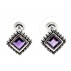 Sterling Silver Oxidized Earrings with Amethyst