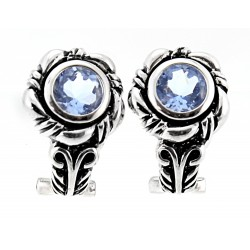 Sterling Silver Earrings with Blue Topaz