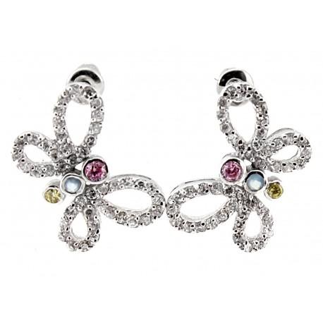 Sterling Silver Butterfly Earrings with CZ