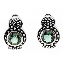 Sterling Silver Earrings with Green Topaz