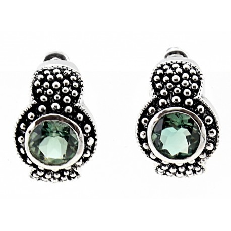 .925 Sterling Silver Earrings With Green Topaz