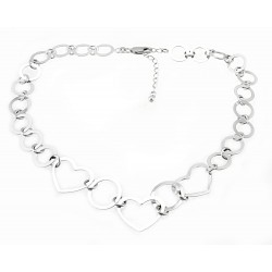 Sterling Silver Harmony Link Necklace with Hearts