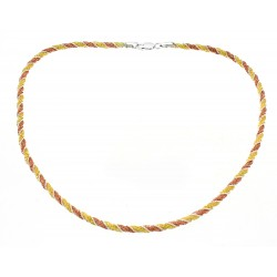 Sterling Silver Vermeil Spiral Tri Color Necklace