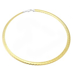 Sterling Silver 2 Tone Reversible Omega Necklace