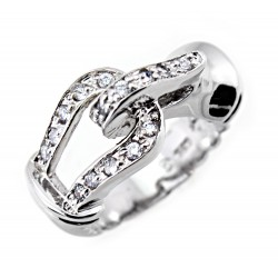 Sterling Silver Ladies Belt Ring with CZ
