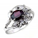 Sterling Silver Ladies Garnet Ring with CZ