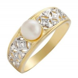18K Solid Gold Ring w Pearl & Diamond
