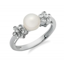 14K Solid Gold Ring with Diamond & Pearl