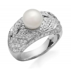 14K Solid White Gold Ring with Pearl and Diamond