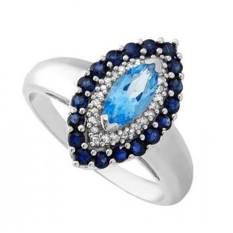 14K Gold Ring w Sapphire, Topaz & Diamond Size 7