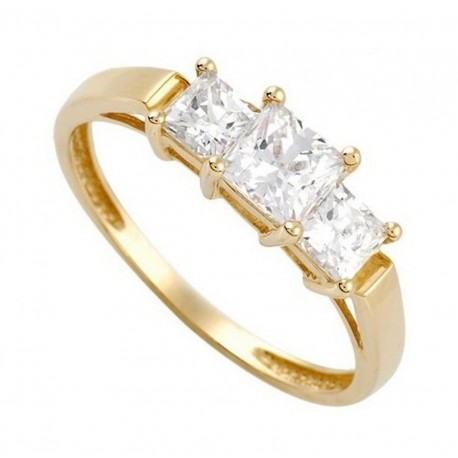 14K Gold Ring w Cubic Zirconia Size 9