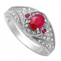 14K White Gold Ring w Diamond & Ruby