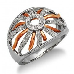 14K White & Rose Gold Ring with Diamond