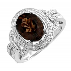 14K Solid Gold Ring w Topaz & Diamond
